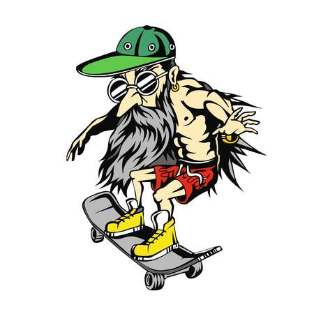 Grandpa on skateboard illustration Minimal and High quality design.