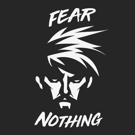 Fear nothing illustration with typography Minimal and High quality design. Vettoriali