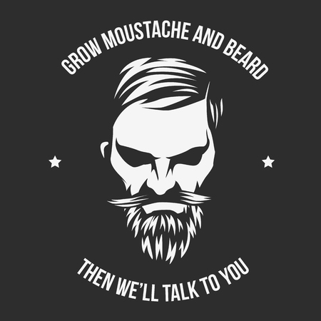 Vector Grow Moustache and beard and illustration with High and Sober typography. Çizim
