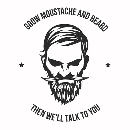 Vector Grow Moustache and beard and illustration with High and Sober typography. Modern and High-quality design Ilustrace