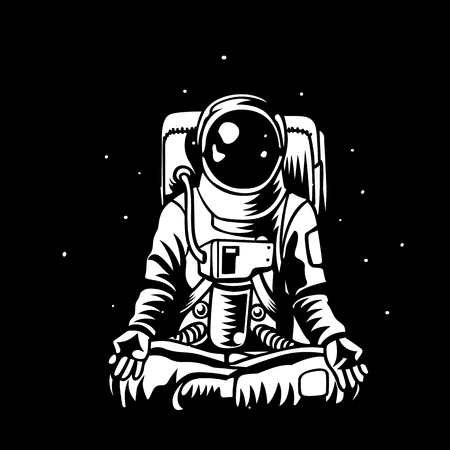 Yoga Space. astronaut meditating in open capacity. Cosmonaut Zen and relaxation. Man in pressure suit knowledge and enlightenment