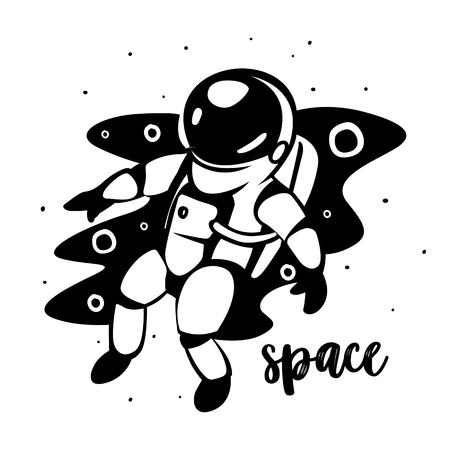 Astronaut at spacewalk. Cosmic art, science fiction wallpaper. Beauty of deep space.
