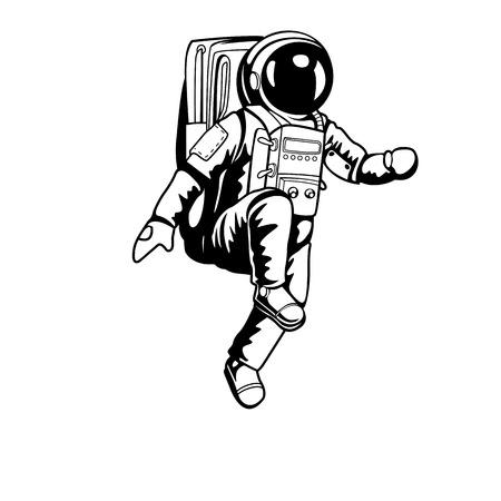 Astronaute marchant sur l'espace et la planète avec un design de haute qualité