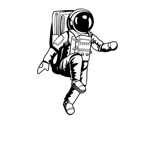 Astronaut walking on space and planet with high quality design