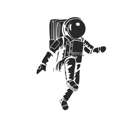 Astronaut walking on space and planet with high quality without outline design