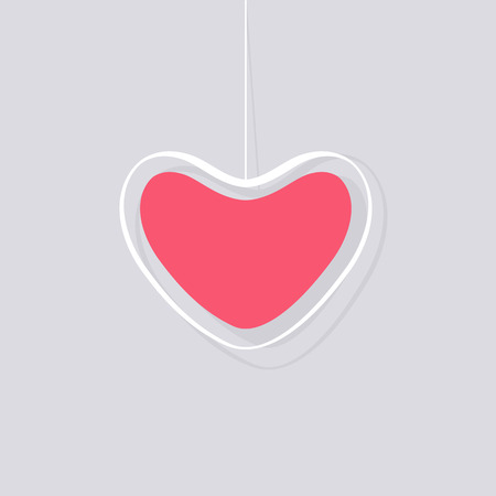 Valentines day pink and white hanging hearts vector illustration.