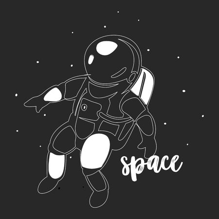 Outer space modern and astronaut minimalist art and vector design.