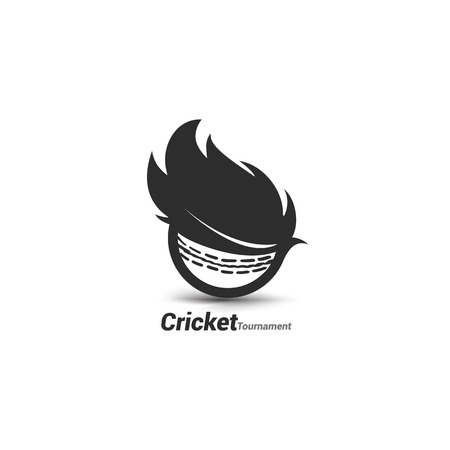 Vector cricket ball with typography