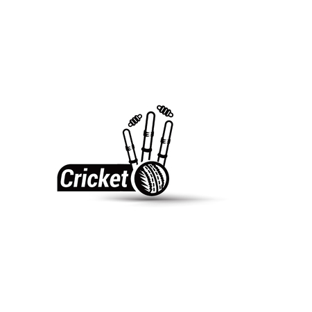 Cricket championship wicket ball high quality design vector Ilustração