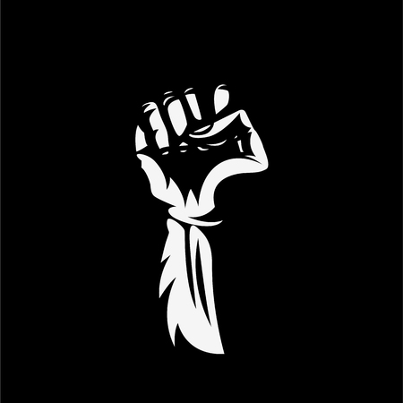 Vector illustration hand high in protest on black background.