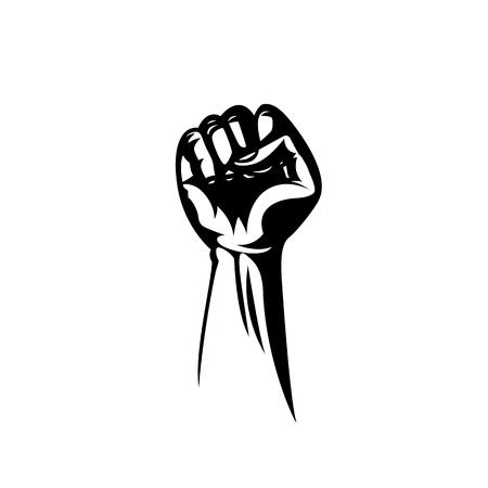 Pugno bianco dell'illustrazione di vettore tenuto alto nella protesta. Archivio Fotografico - 93804118