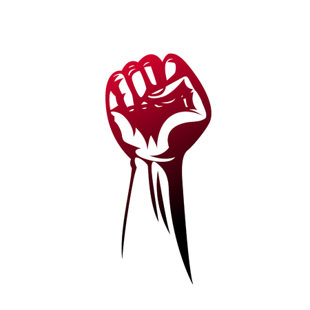 Protest poster, raised fist in protest. Vector illustration Illustration