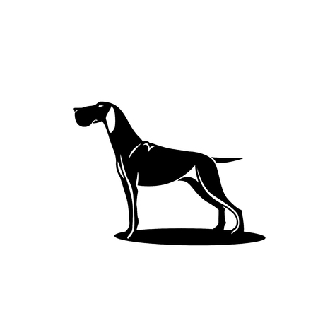Black hunting dog with shadow vector illustrator Ilustração