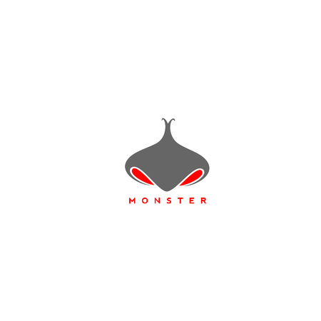Monster nose with Minimal Icon Pictogram Symbol vector Illustration