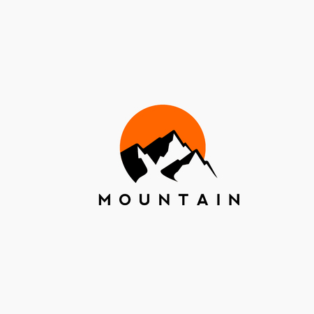 Mountain and sunset Logo in black and orange .