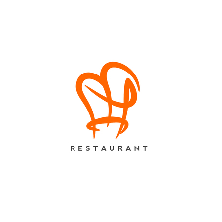 resturants logo with white background and topography. Çizim