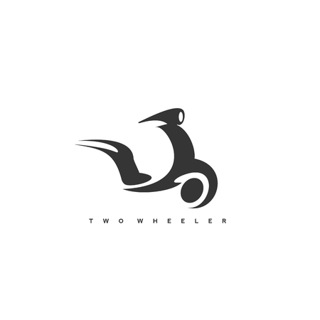 Black two wheels icon and typography with vector illustration.