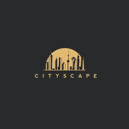 golden cityscape vector illustration.