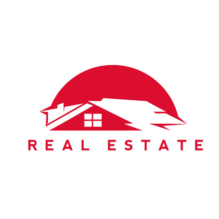 red real estate house vector illustration.