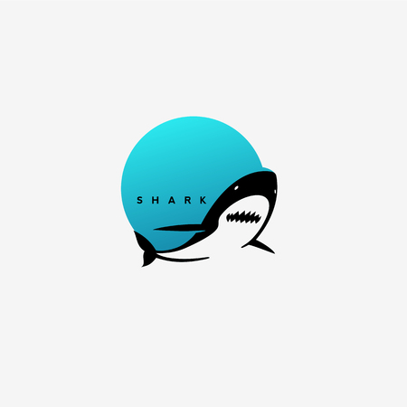 minimal shark logo design. Vectores