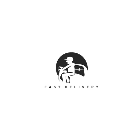 minimal delivery man icon in black color on white background with typography vector illustration.