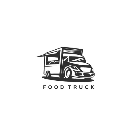 Black and white food truck on white background with typograpghy vector illutration.