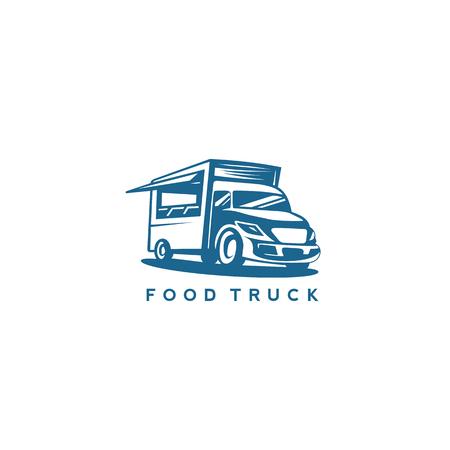 blue color food truck vector illustration.