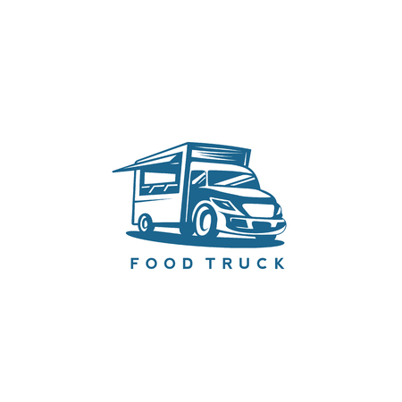 blue color food truck vector illustration.