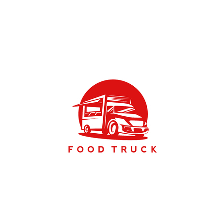 minimal icon of red color food truck on white background with typography vector illustration design. Ilustracja