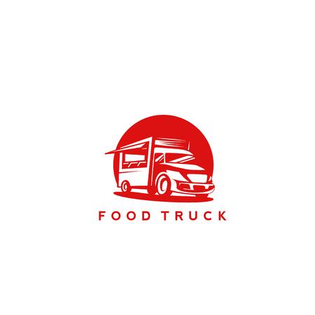 minimale icoon van rode kleur voedsel vrachtwagen op witte achtergrond met typografie vector illustratie ontwerp. Stock Illustratie