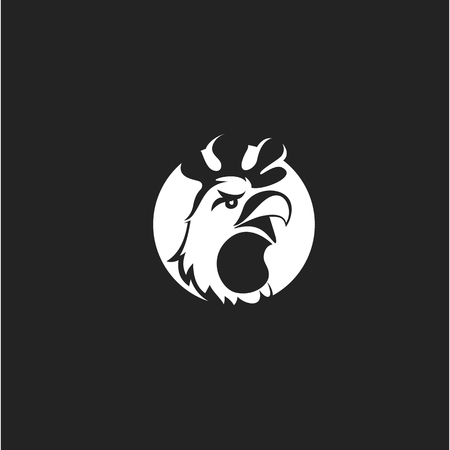 minimal icon of chicken on black background vector illustration design. Ilustracja