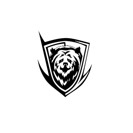 Black bear icon vector illustration on white background.