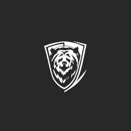 Creative simple bear face icon vector illustration on black background. Illustration