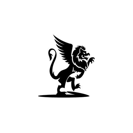 black color griffin icon on white background vector illutration design. Illustration