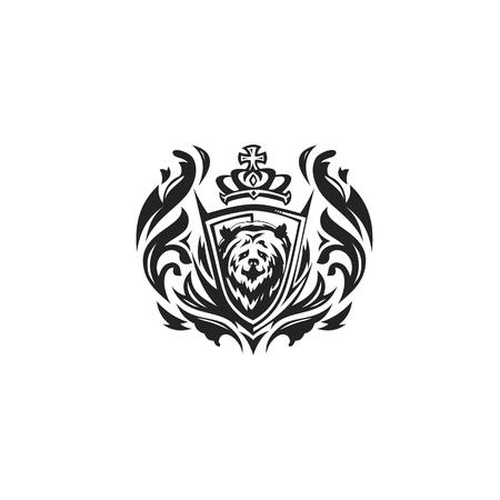 Black and white bear icon vector illustration on white background. Illustration