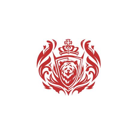 Minimal red bear icon vector illustration on white background. Иллюстрация