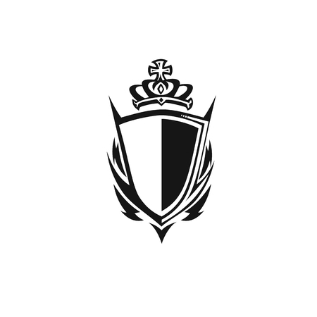 black shield with crown,empire symbol on white background vector illustration design.