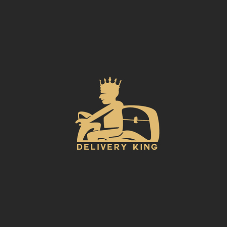 Delivery man with crown and box vector illustration on black background.