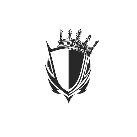 Shield icon with tilt crown illustration on white background. Illustration