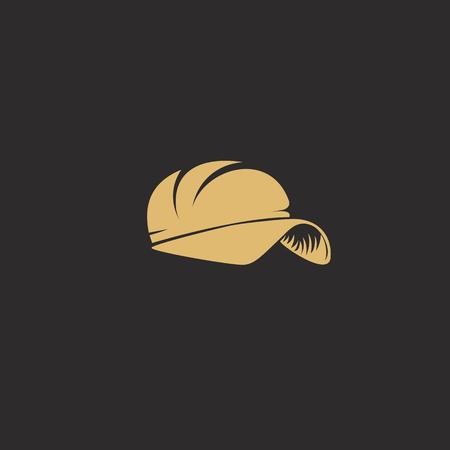 golden rapper cap on black background vector illustration design.