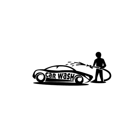 Man cleaning car using the pipe on white background with typography illustration design. Ilustração