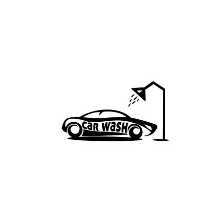 minimal logo of car wash under shower vector illustration Illustration