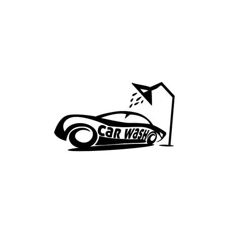 タイポグラフィデザインの白い背景にシャワーの下にスポーツカーの最小限のロゴ。
