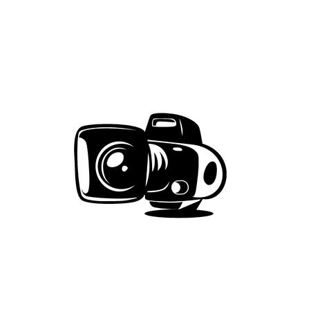 minimal logo of camera on white background vector illustration design.