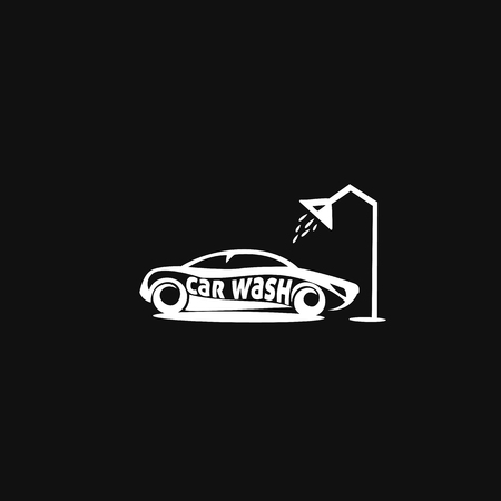 Minimal logo of white car wash on black background vector illustration Illustration