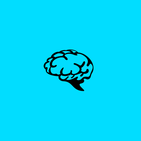 Minimal logo of human brain vector illustration.