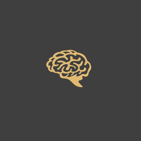 黄金の人間の脳ベクトルイラストの最小のロゴ  イラスト・ベクター素材