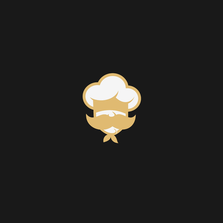 gold and white chef with mustache on black background vector illustration design.