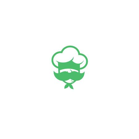 Chef vert avec logo moustache sur illustration vectorielle fond blanc Banque d'images - 94662816