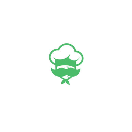 Green chef with mustache logo on white background vector illustration